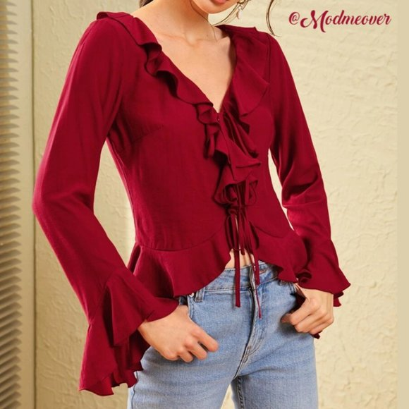 Mod Me Over Tops - NEW Burgundy Red Ruffle Trimmed Flounce Sleeve Top